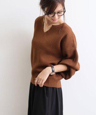 【D-6】Vネック ワッフル ニット セーター トップス ボリューム袖