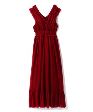 プリーツチュールロングドレス