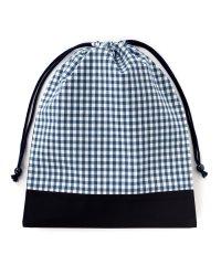 巾着 大 体操服袋(ネームタグ付き) チェック大・紺 × オックス・紺