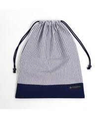 巾着 大 体操服袋(ネームタグ付き) ヒッコリーストライプ・紺 × 帆布・紺