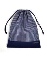 巾着 大 体操服袋(ネームタグ付き) ピンストライプ・インディゴ × 帆布・紺