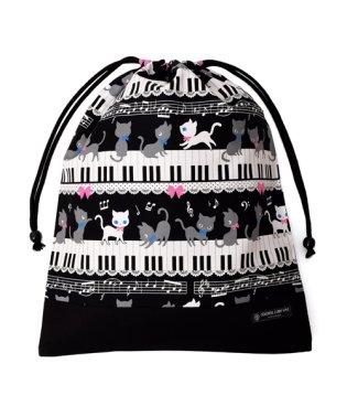 巾着 大 体操服袋(ネームタグ付き) ピアノの上で踊る黒猫ワルツ(ブラック) × オックス・黒