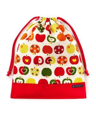 巾着 大 体操服袋(ネームタグ付き) おしゃれリンゴのひみつ(アイボリー) × オックス・赤