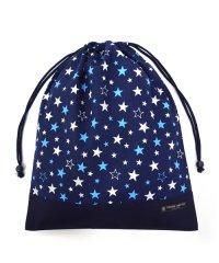 【通園・通学】巾着 大 体操服袋(ネームタグ付き) ブリリアントスター 紺 × オックス・紺