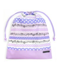 巾着 大 体操服袋(ネームタグ付き) 奏でるメロディー弾ける水玉リズム(ラベンダー) × オックス・ラベンダー