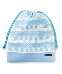巾着 大 体操服袋(ネームタグ付き) ポルカドットとレースリボンに魅せられて(ライトブルー)×オックス・サックス