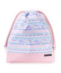 巾着 大 体操服袋(ネームタグ付き) レースチュールとメリーゴーランド(ライトブルー) × オックス・ピンク