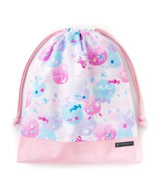 巾着 大 体操服袋(ネームタグ付き) ふわふわキュートなキャンディポップ × オックス・ピンク