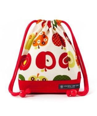 巾着 小 コップ袋(ネームタグ付き) おしゃれリンゴのひみつ(アイボリー) × オックス・赤