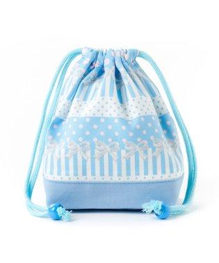 巾着 小 コップ袋 ポルカドットとレースリボンに魅せられて(ライトブルー)×オックス・サックス