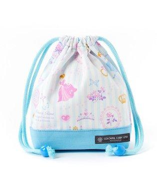 巾着 小 コップ袋(ネームタグ付き) プリンセスドレスで彩るパウダールーム(ストライプ)×オックス・水色