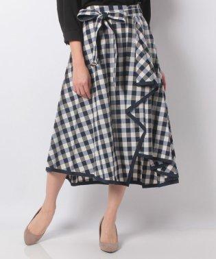 ギンガムチェックイレギュラーヘムラップ風スカート