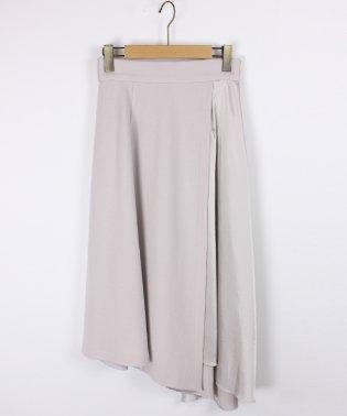【スール soeur7】ウール×サテン イレギュラーヘム ラップ風 ロングスカート