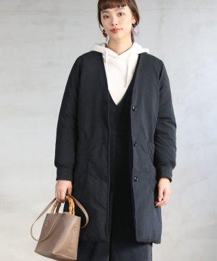 【春頃まで着られる】HOT FIBER中綿Vネックコート