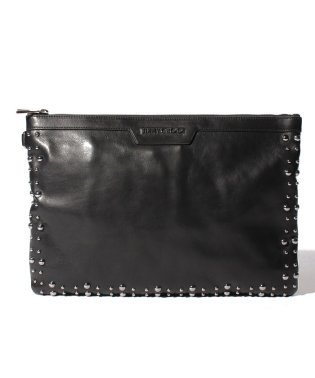 【JIMMYCHOO】クラッチバッグ LEATHER WITH PEARL STUDS