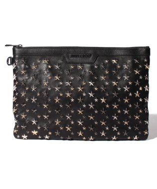【JIMMYCHOO】クラッチバッグ LEATHER W/MULTI METAL STARS