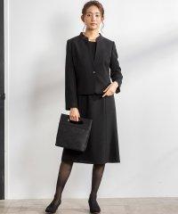 【喪服・礼服・冠婚葬祭】スタンドカラージャケット&前開きセミフレアワンピース セットアップスーツ