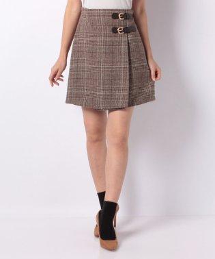 サイドベルトグレンチェック/台形スカート