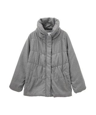 Navy フラノプリント ボリューム衿シャーリングジャケット NHPH6501L
