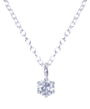限定数超特価!Pt900 プラチナ6本爪 天然ダイヤモンド 0.07ct 一粒ネックレス SVチェーン