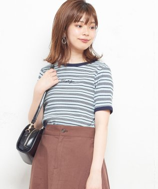 【natural couture】ちびロゴ刺繍入りボーダーTシャツ