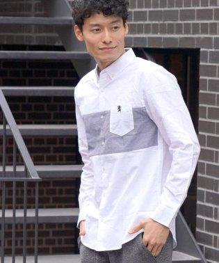 [18AW 新作アイテム]ライオン刺繍ブロッキングデザインシャツ