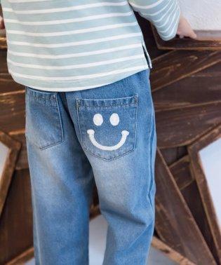 【裾フリンジ】スマイルポケットテーパードデニムパンツ