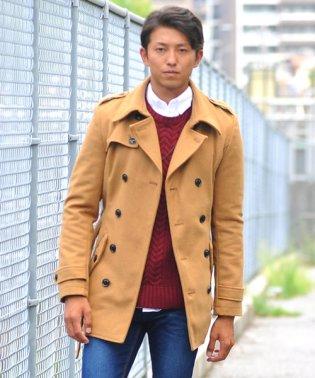 トレンチコート メンズ ウール メルトン ロング コート Pコート カジュアル ビジネス