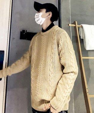 セーターニットフィッシャーマンknitメンズMen'sケーブルクルーネックUネックニットソーセーターきれいめブラックグレー白ホワイト紺ネイビー