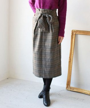 Lupino フロントリボンチェックタイトスカート