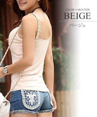 カップ付インナーキャミソール/タンクトップ 韓国 ファッション レディース かわいい 美乳 シンプルバストアップ【vl-5298】