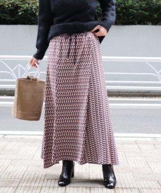 ジオメトリックプリントギャザースカート