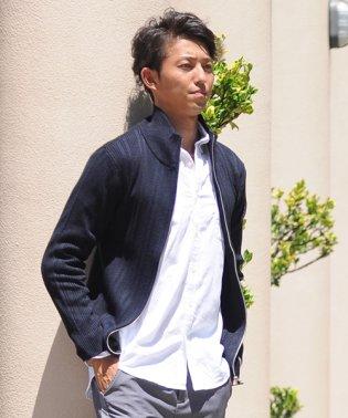 ニット メンズ  ニットジャケット カーデ カーディガン  ジッパー スタンド襟 リブ編み セーター sweater スエーター きれいめ キレカジ ジップ