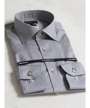 綿100%形態安定スリムフィットワイドカラー長袖ビジネスドレスシャツ