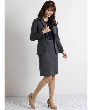 ストレッチウォッシャブル テーラージャケット+スカート+パンツ グレーミルドペーン