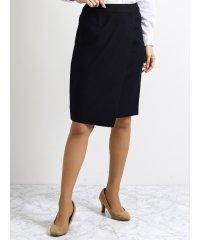 ストレッチウォッシャブル セットアップセミタイトスカート 紺ストライプ