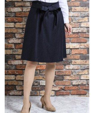 Marzotto(マルゾット)紺ストライプ セットアップフレアースカート