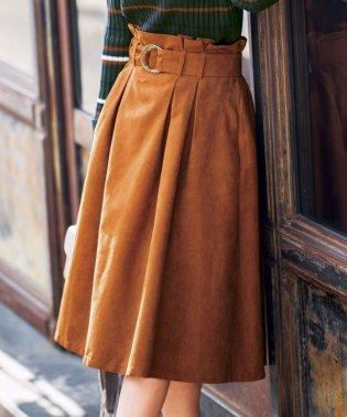 ピーチ起毛素材サッシュベルト付スカート