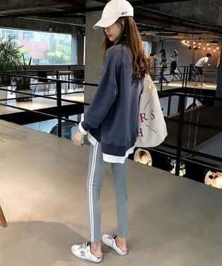 重ね着風スウェット 韓国 ファッション レディース ゆったり かわいい シンプル ふんわり【A/W】【ra-2048】
