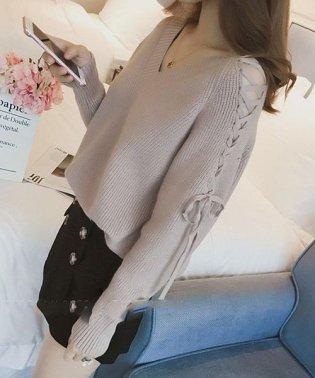 Vネックレースアップショルダーニット 韓国 ファッション レディース ゆったり かわいい 長袖 あったか【A/W】【ra-2057】