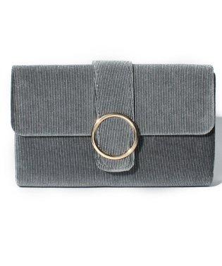 ベロア×リブデザインのリング金具パーティークラッチバッグ