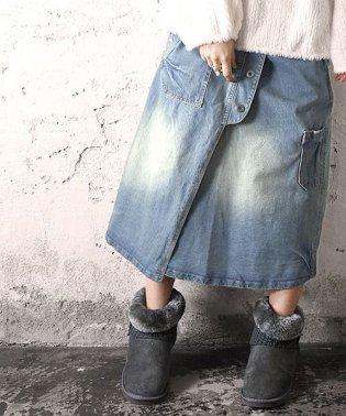 デザインポケットデニムラップスカート