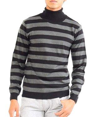 ニットknitメンズMen'sボーダータートルネックカシミアタッチVネックニットソーセーターsweaterスエーターきれいめブラックグレー