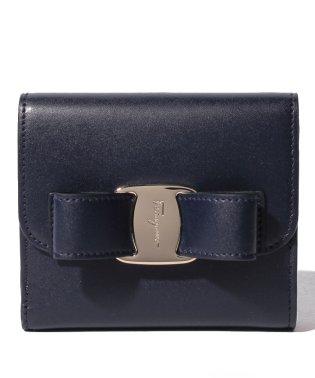 【Salvatore Ferragamo】2つ折り財布/VARA【NAVY/BONBON】