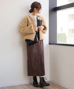 【B-11】ジャガードコーデュロイ ハイウエスト タイトスカート