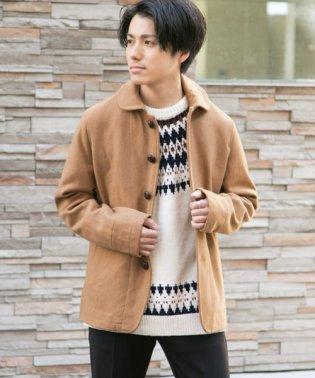 ウール混メルトン丸襟コート