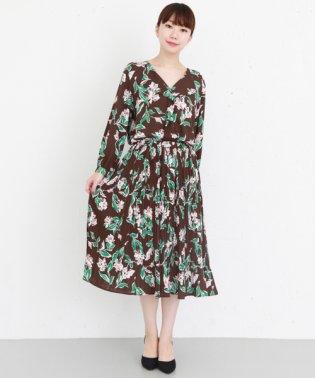 【KBF+】フラワープリントプリーツスカート