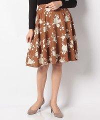 ピーチ素材花柄フレアスカート