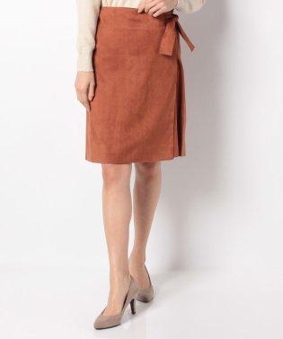 スエード素材サイドリボン付ラップスカート