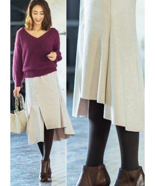 裾デザインエコスエードスカート